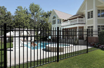black metal fence with pool